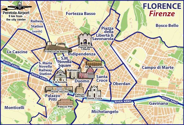 Tourist Attraction Map Of Florence Maps update pisa tourist map