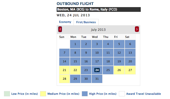 On Delta award calendars, blue is bad