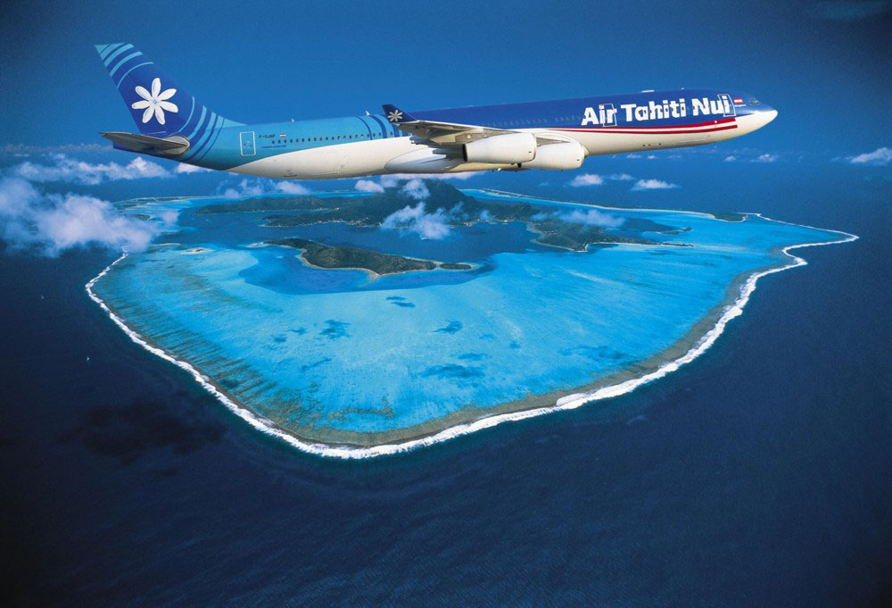 We took a plane very similar to this photoshopped picture to Tahiti! (asiatraveltips.com)