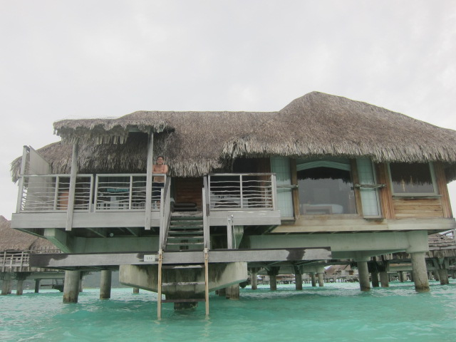 View of our bungalow from the water - thankfully Jess didn't drop the camera