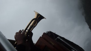 So he just happened to have a trumpet lying around!?