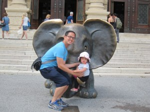 In front of the Natural History Museum (a big hit)