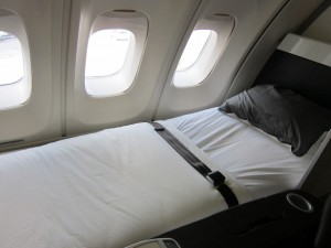 The Lufthansa 747-400 features a full bed in first class