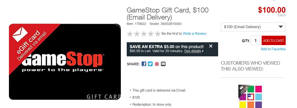 Save money when you buy discounted Gamestop gift cards online from BuyBackWorld. You'll get a great deal on video games and gaming conoles when you purchase a discount gift card to redeem at your local Gamestop store or online.