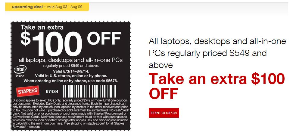 Staples acer monitor coupon