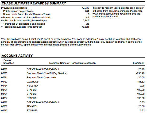 chase bank statement template .