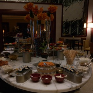 Spread at the Grand Hyatt Dubai lounge.