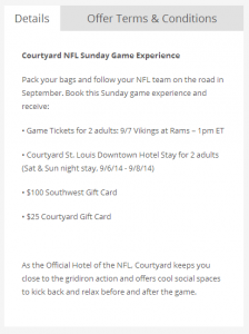 Marriott Rewards Flash Perks 21 August 14 NFL Game Day Package Example.