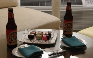 Two local beers and some macaroons
