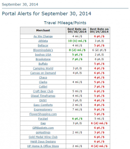 Screenshot from FrequentMiler's Portal Alert - 30 September