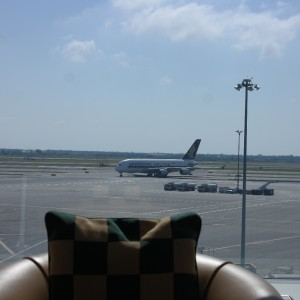 Planespotting from the Emirates Premium Lounge at JFK