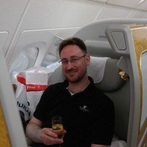 Toasting some Dom Perignon 2004 and trying to hide the huge 1/200 scale A380 behind me.
