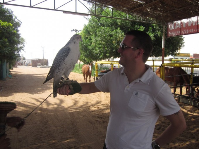 Posing with a Falcon