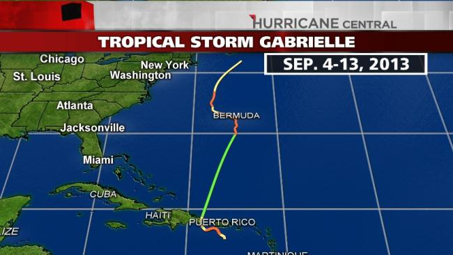 Storm's projected path- our cruise was September 8-15th