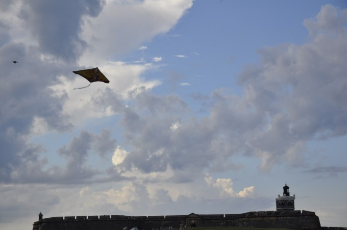 Kites flying over the old fort