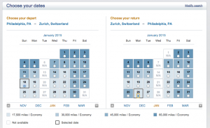 US Airways Award Calendar