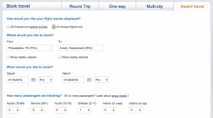 US Airways Award Search