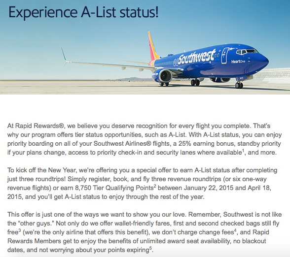 Southwest A-List Challenge Email