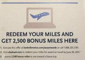 Targeted Alaska Airlines 2500 Mile Rebate Offer