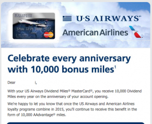 US Air 10,000 Miles Anniversary Bonus to Stay (for some cards)