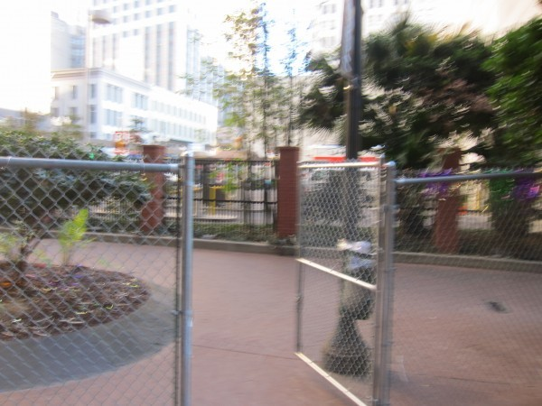 The fences were still there the day after - the day before this had been staffed by security