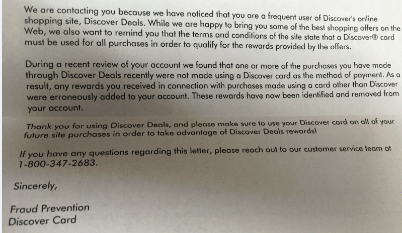 Discover Deals claw back letter