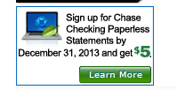 chase paperless offer