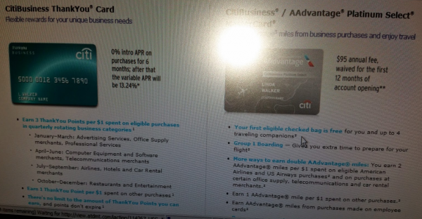 i applied for the citibusiness aadvantage platinum select card in april 2015 the offer in branch was 40000 miles with 2 aa passes - Citi Business Credit Card