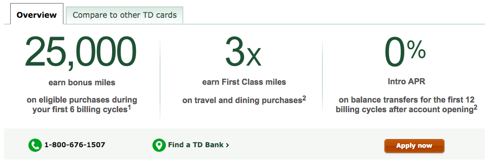 Td bank first class visa credit card review chasing the points tdfirstclassoffer reheart Image collections