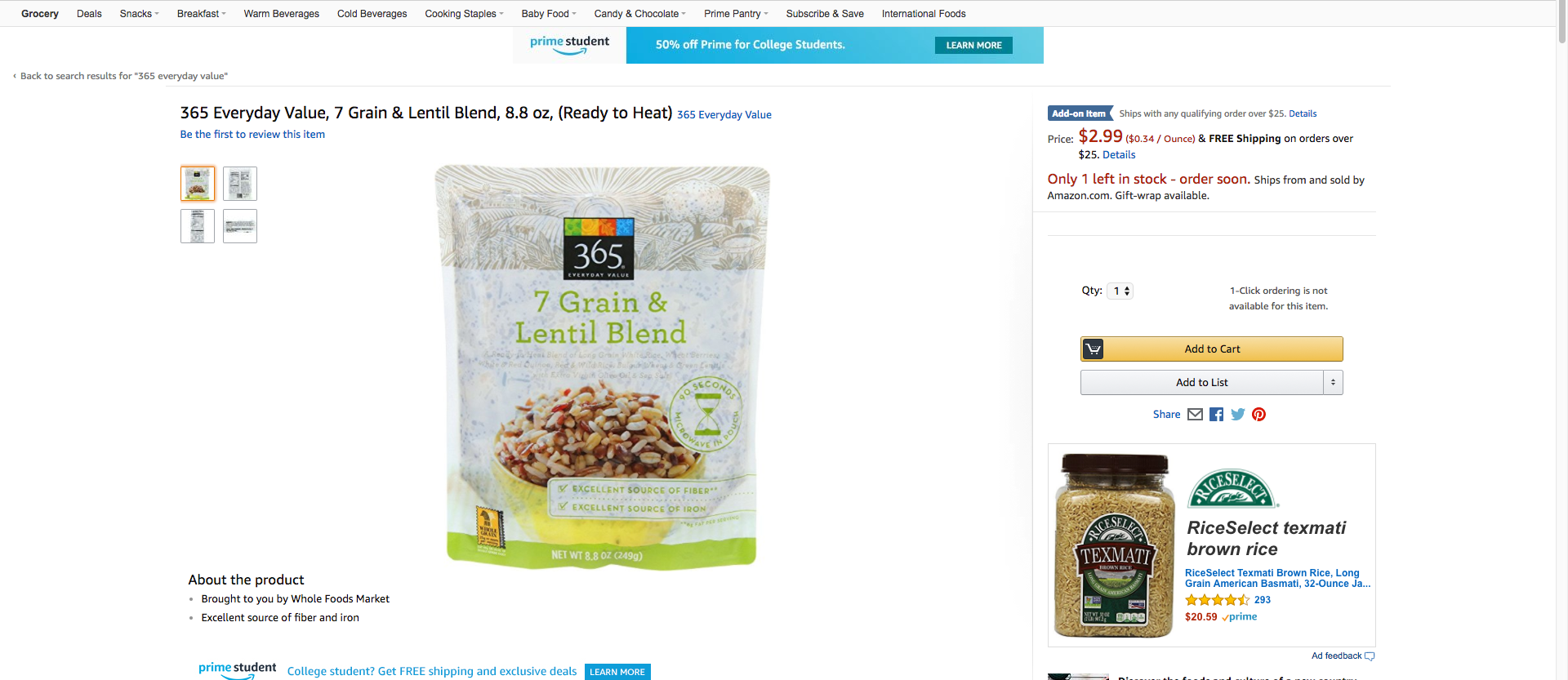 Amazon 365 Everyday Lentil Blend
