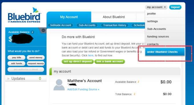 Order Checks for free on your Bluebird Account