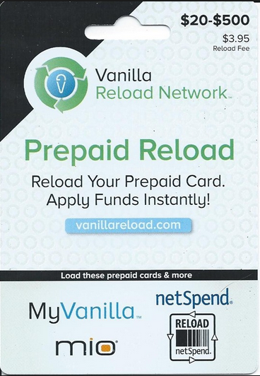 Vanilla Reload Card should look like this