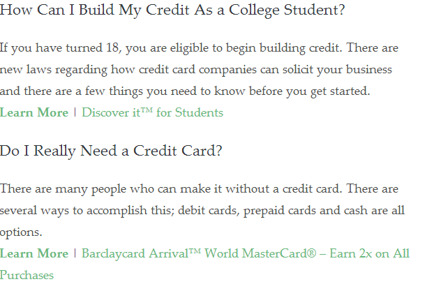 Check out credit - and get a card when you are at it (no card disclosure visible)