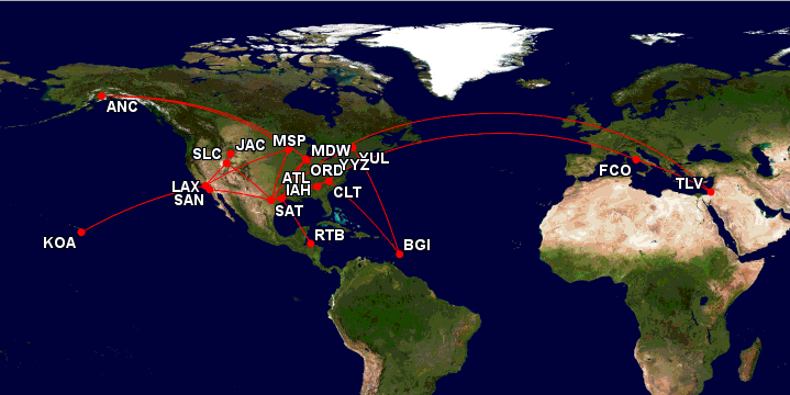 2014 as booked: 8 trips, 48,500 miles flying. Out of pocket cost of 30 roundtrip tickets: $2000. Mostly covered, of course, with Arrival points.