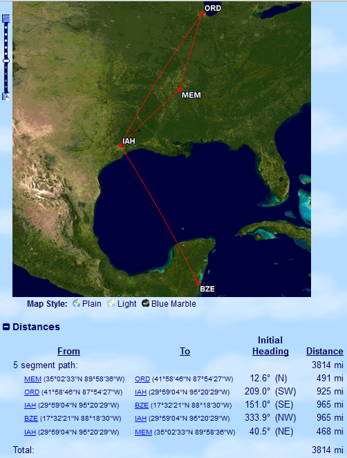 Even without the most direct route, MEM-BZE with 186 miles to spare. Map coutesy of Great Circle Mapper.