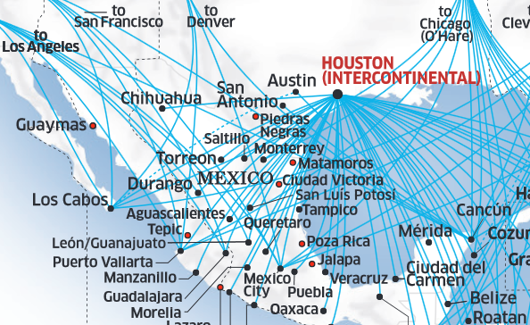 Mexican cities served by United from DEN, LAX, SFO.