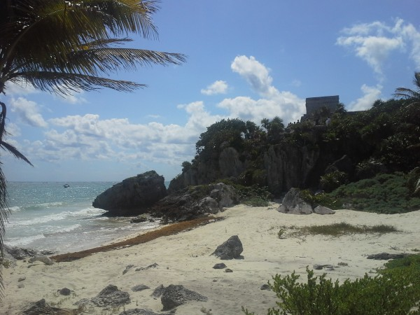 The beach just below the pyramid at Tulum.