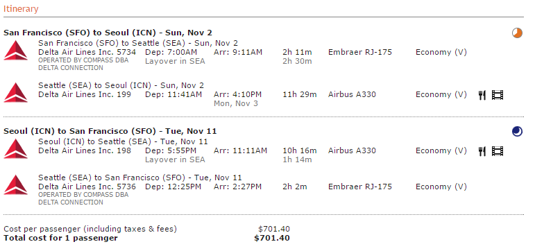 Sample Delta itinerary. Fly UA for about $30 more.