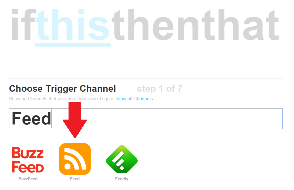 Selecting a feed on IFTTT