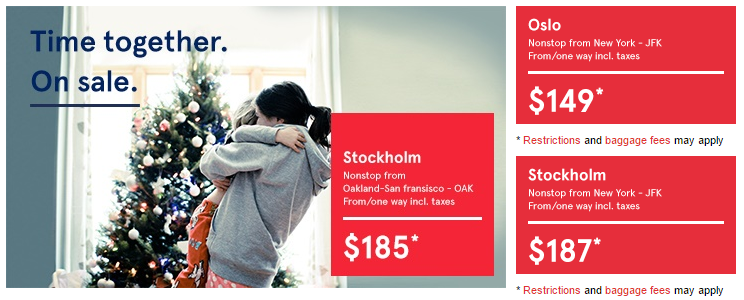 San Francisco, New York to Oslo or Stockholm, $298-370 on Norwegian Air
