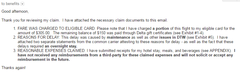 DTW Email to Benefits