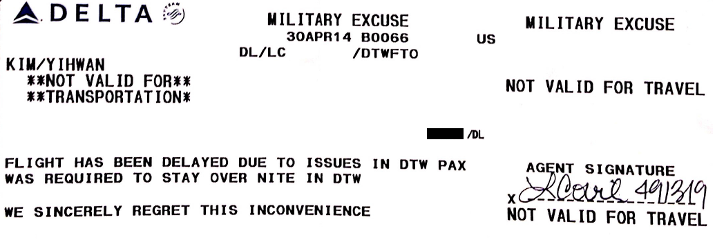 DTW SFO Military Excuse 1