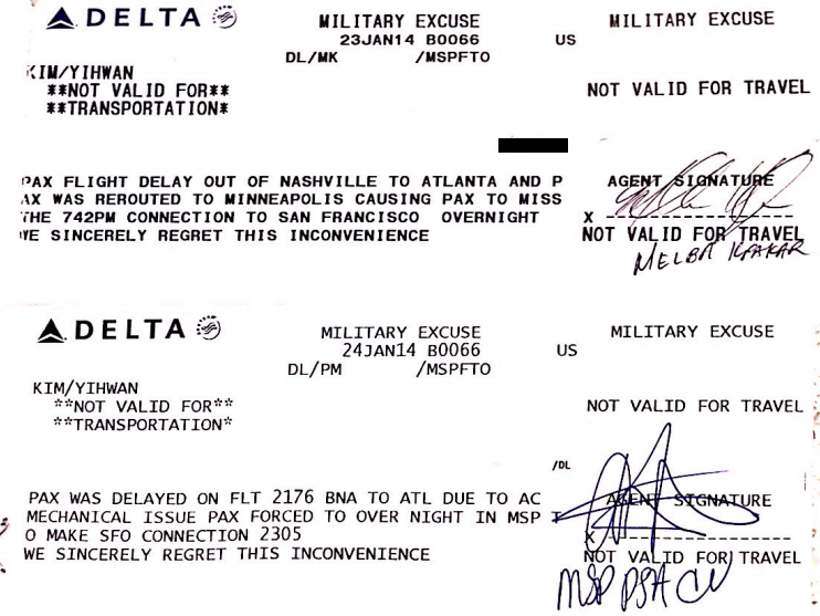 Flight Delay Military Excuse BNA MSP