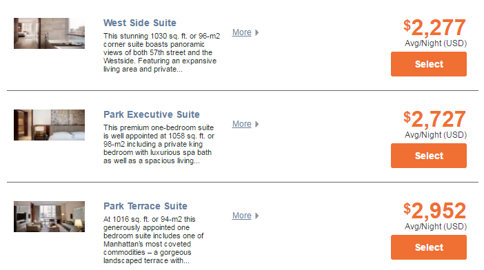Park Hyatt New York Suite Rates