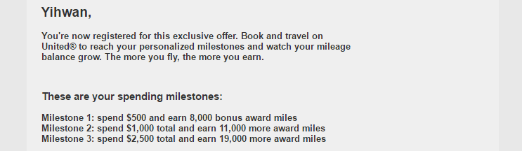 Targeted Bonus MileagePlus Offer