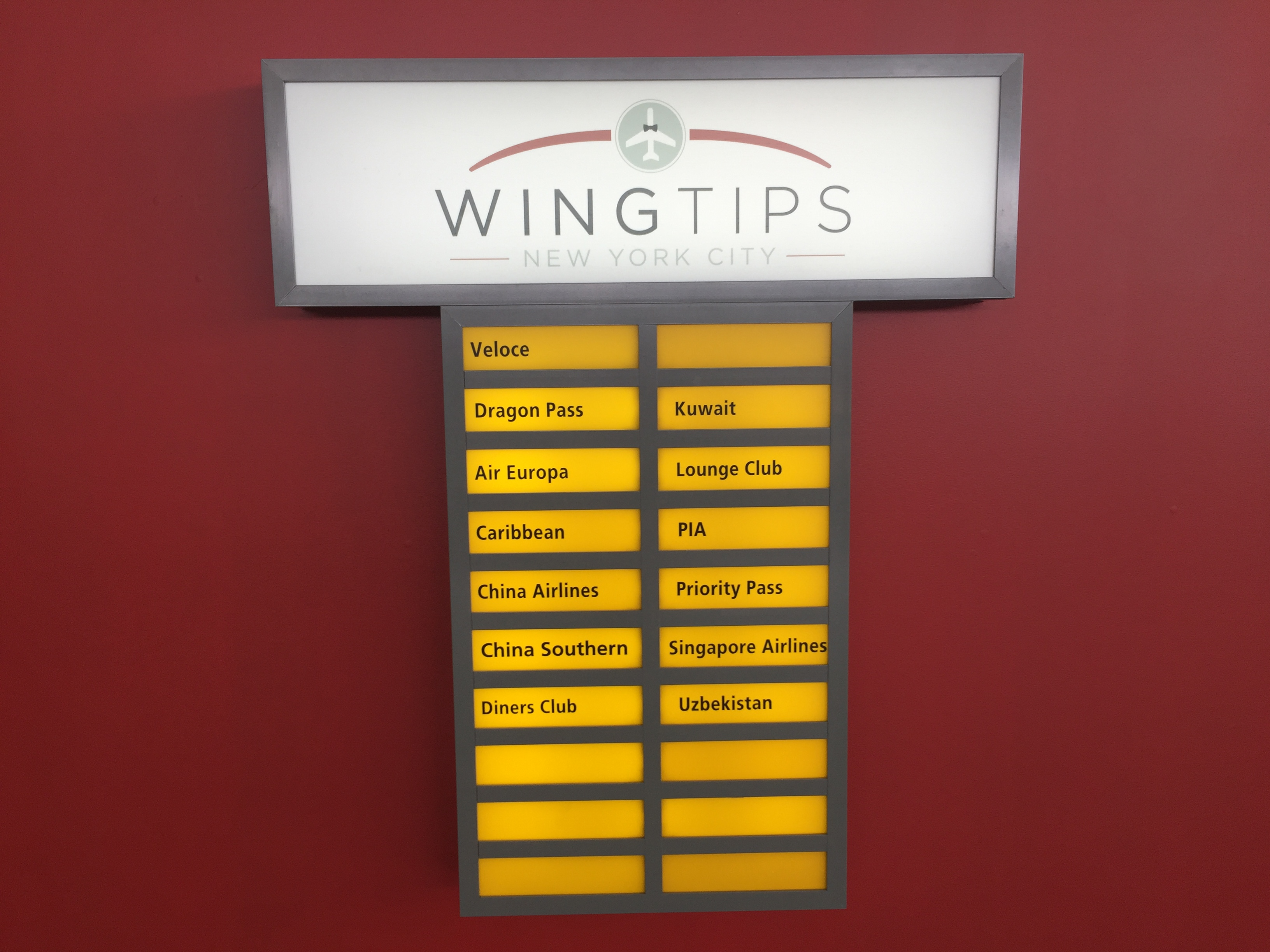 Wingtips JFK Lounge Airline Partners