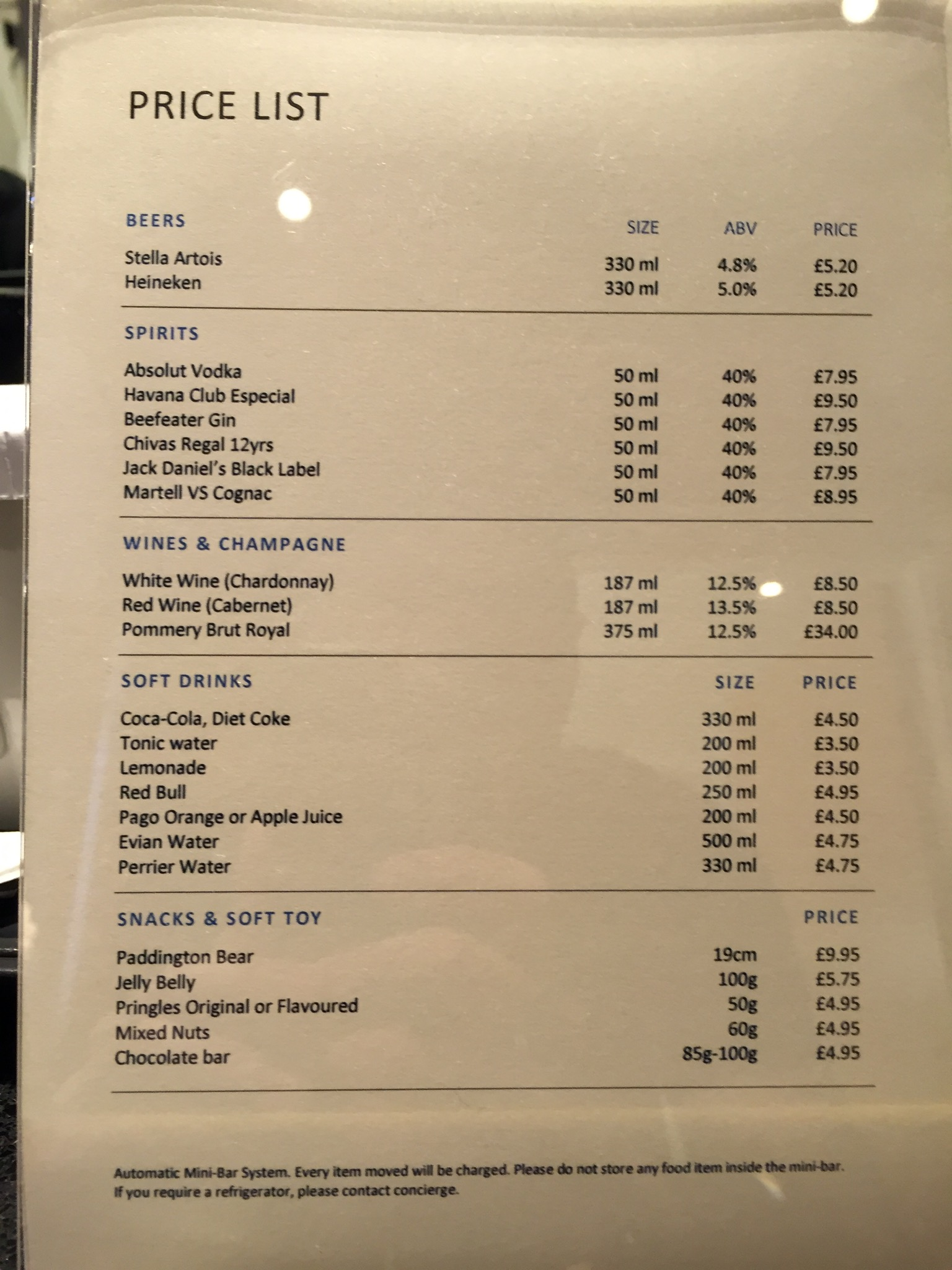 Hilton London Paddington Minibar Menu