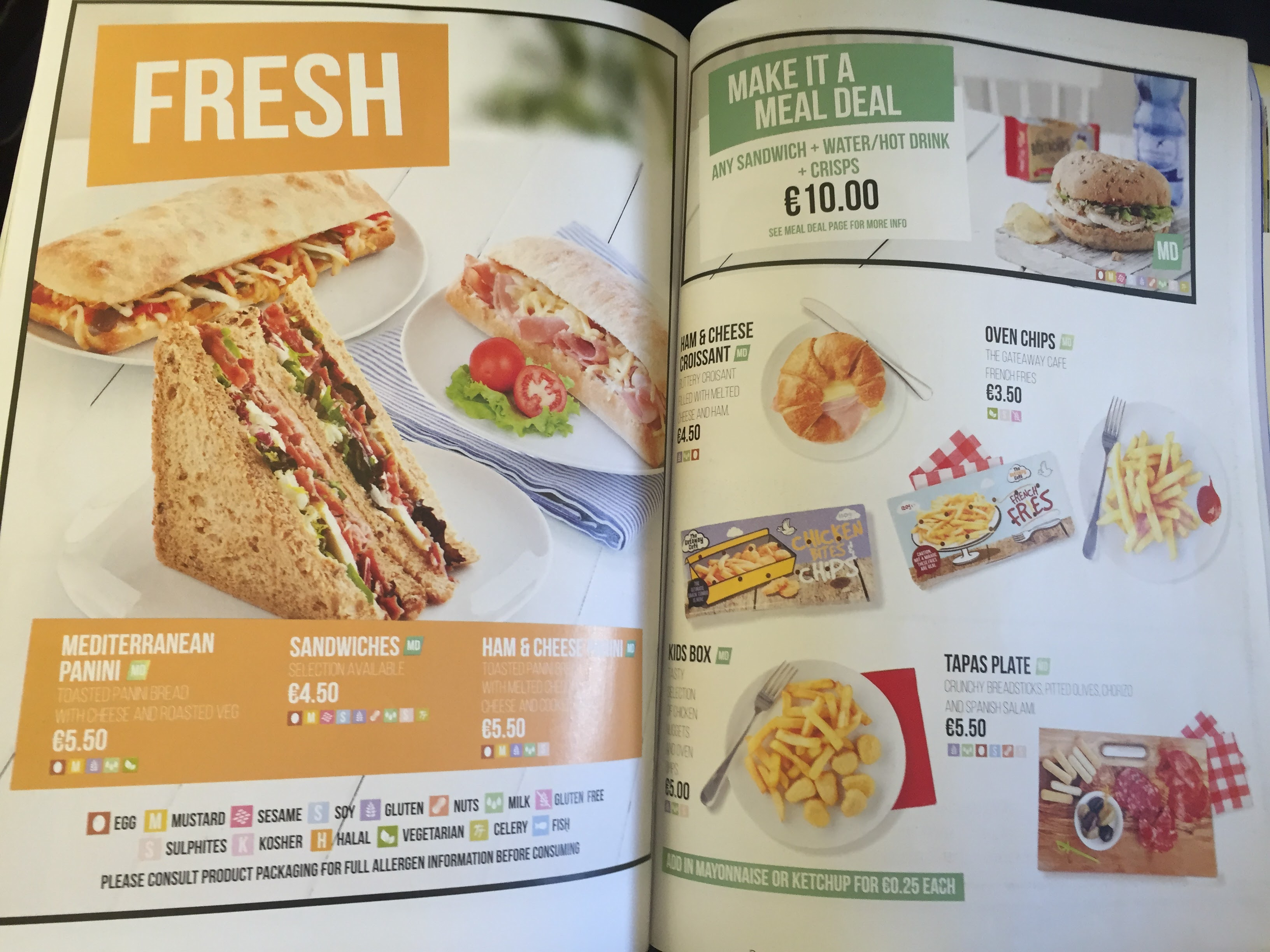 RyanAir Inflight Menu