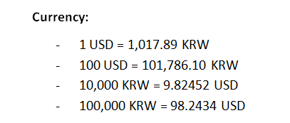 South Korean exchange rate as of 6/23/2014.