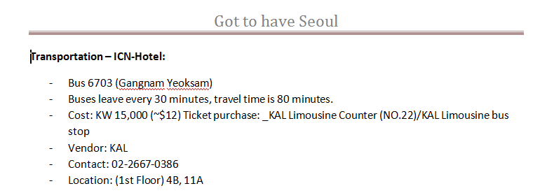 KAL Limousine Bus Transfer Information